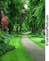 Garden path - A path through a verdant garden