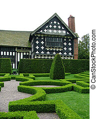 An English knot garden - An old English knot garden with a...