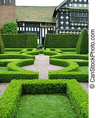 an old English knot garden - An English knot garden with a...