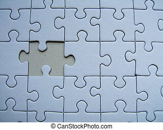 Lonely puzzle - A blue puzzle with a missed piece