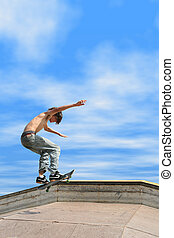 Teen Boy Skateboarding Outdoors 8 - Teen boy shirtless in...
