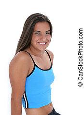 Teen Girl Sport - Beautiful dark haired tan teen girl in...