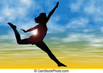 Silhouette Woman Sky - Silhouette Of Woman Jumping Against...