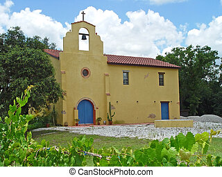 Old Mission Church - A colorful, Mexican adobe-style church...