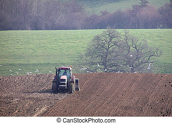 Ploughing - Farmer ploughing his field