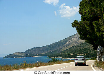Travel to Seaside - Road with beautiful view on Croatian...