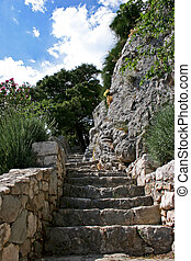 Ancient Stairway - Stairs of rock to the medieval castle,...