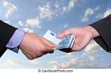 payment - business scene: one person giving money to another