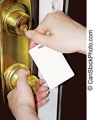 blank tag - woman unlocks door with bland key tag