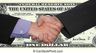 handshake - a handshake in front of a dollarnote