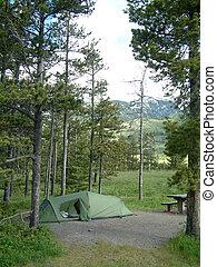campamento, sitio