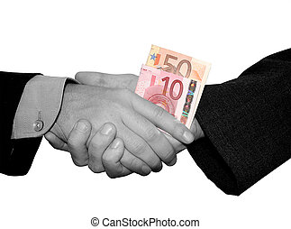 business handshake in b/w with money in color.