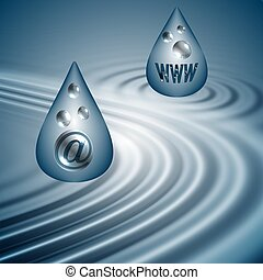 WWW and email drops - WWW and email symbols drops over blue...
