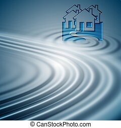 Internet commune - Blue water ripples and houses . Symbol of...