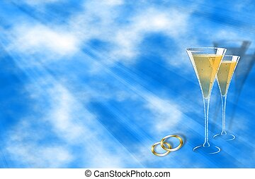 Wedding template - Beautiful sky background with champagne...