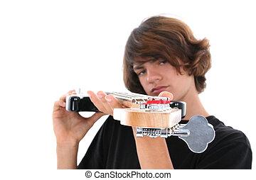 Teen Boy Bass Guitar