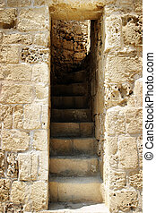 Ruined Fort Steps - Old ruined stone stairway in a ruined...