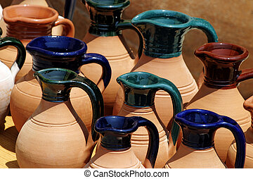 Painted Clay Jugs - Cypriot Greek clay pots on display