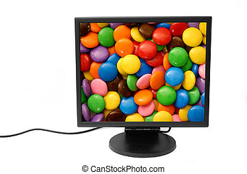Monitor 2 - Flatscreen monitor isolated - candies...
