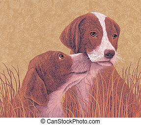 Small Dogs - Image from an original painting by Larry...