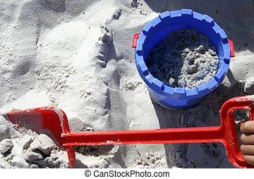 沙子, 水桶, n, 黑桃