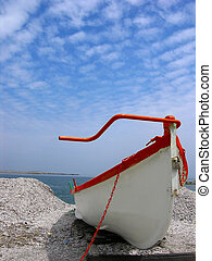 Resting Boat - White Boat On Sand