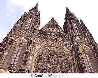 Cathedral front view - Prague - Front view of St Vitus...