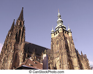 East tower of St Vitus cathedral - Eastern side of cathedral...
