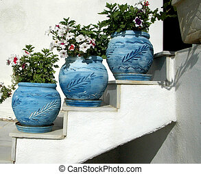 flower pots in the greek islands