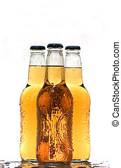 Alcohol: Cold Beer - Three bottles of beer shot with Canon...