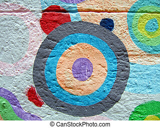 Colored circle - Detail of a graffiti close-up