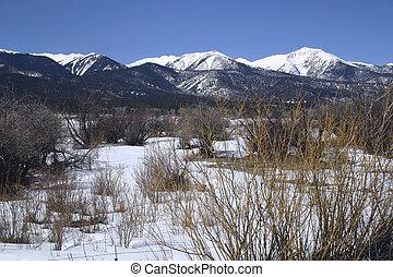 Snowy Mountains - View of snowy Sangre de Christo mountains...