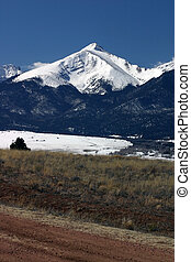 The Sangres - snow covered peak in the Sangre de Cristo...