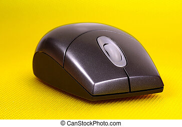 Computer Mouse on a Yellow Background