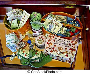 stitcher's treasure - the box of embroidery stuff