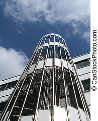 Metallic stairs with blue sky background