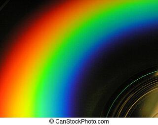 CD, -, regnbåge, titta