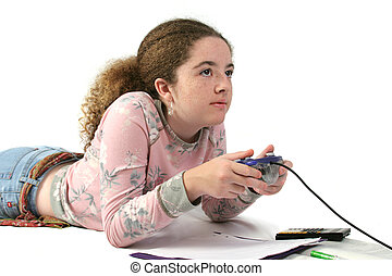 Student Gamer - A student playing video games instead of...