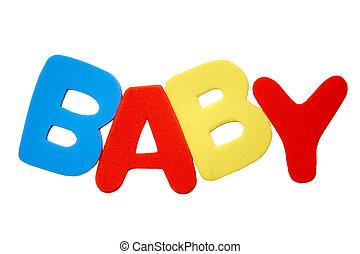 """foam letters spelling """"baby"""""""