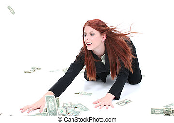Business Woman Money - Beautiful Young Business Woman On...