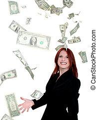 negócio, mulher, Dinheiro