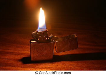 Lit lighter - open lighter with flame