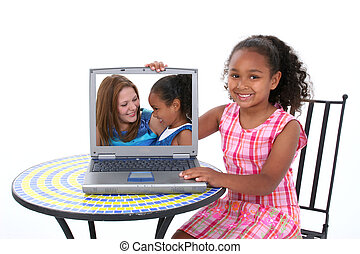Family Computer - Beautiful Six Year Old Child Showing Off...