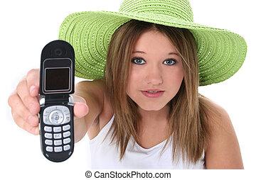 Teen Girl Cellphone - Beautiful Teen Girl Handing Cellphone...
