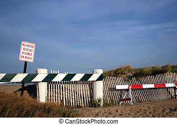 Larger View Of No Motor Vehicles On Beach Sign - Larger View...