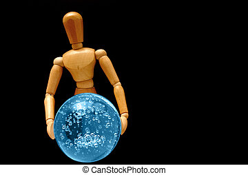 Psychic mannequin - holding a blue orb