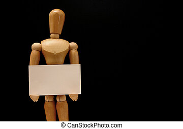 Business identity - Mannequin - holding blank business card