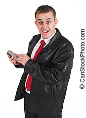 Businessman #31 - Business man with black leather jacket and...