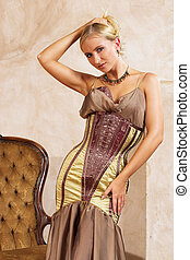 Fashion 4 - Blonde woman in tight fitting dress