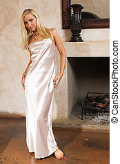Lingerie 16 - Blonde woman in silk negligee